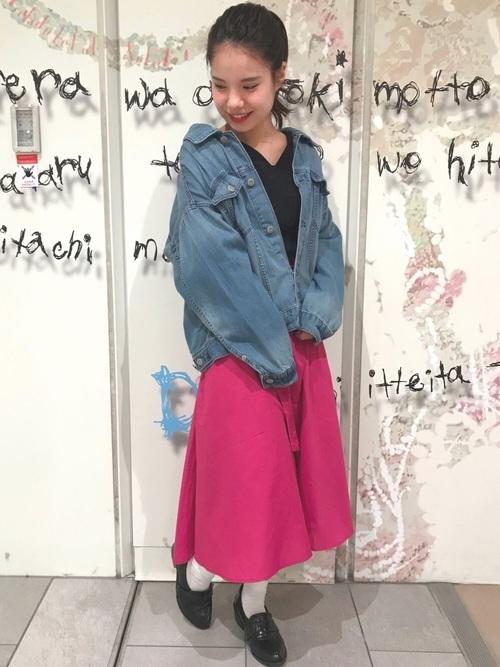 大きめジージャン×スカート
