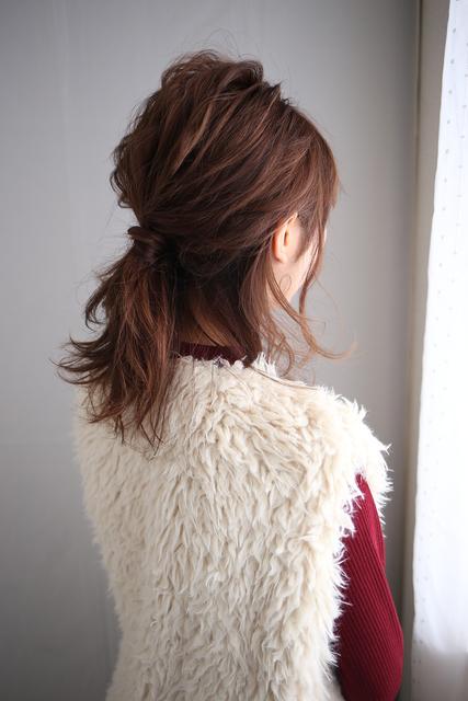 ミディアムヘアのハーフアップ