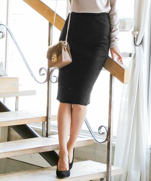 神戸レタスのポンチ素材ウエストゴムタイトスカート