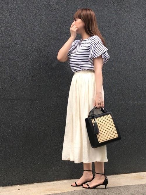 ボーダー×スカート