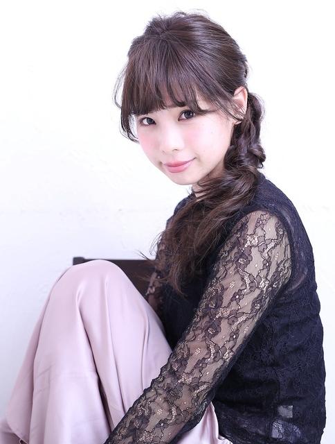 ロングヘア×編み込みポニー