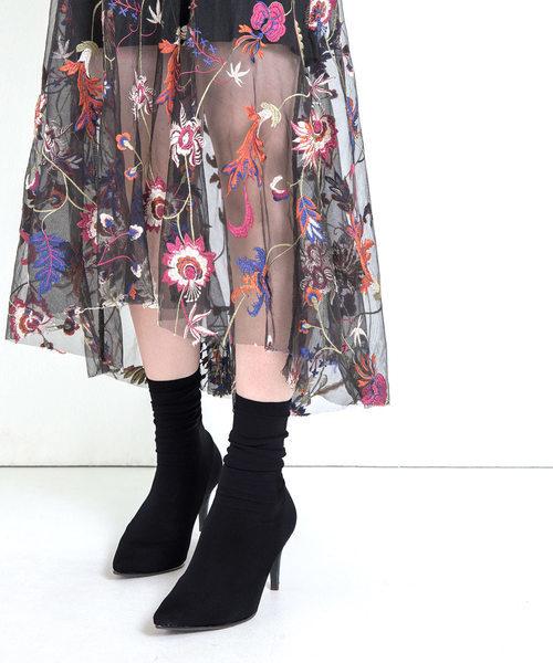 ポインテッドトゥソックスブーツ(7cmヒール)