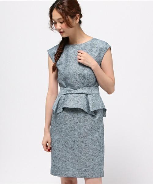 ジャガードペプラムドレス