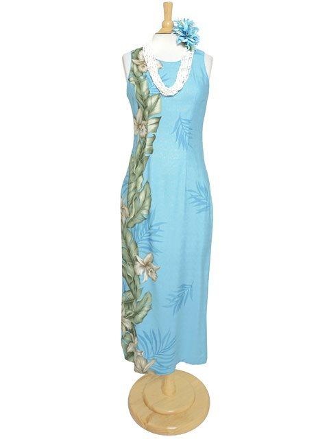 Hilo Hattie パイピングネックロングドレス