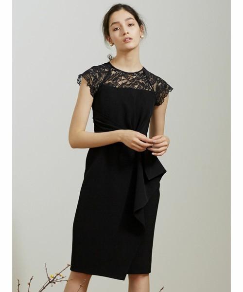 LADYラッフルリボンタイトドレス