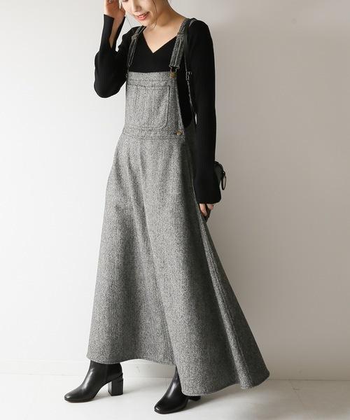 ツイードマキシジャンパースカート◆