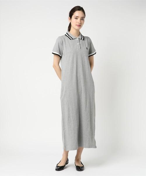 ライオン刺繍衿ラインポロシャツマキシワンピース